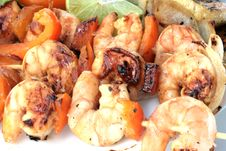 Free Grilled Prawns On Bamboo Sticks Served With Salad Stock Photo - 4471270