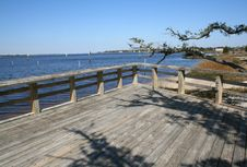 Tree And Large Deck At Shore Royalty Free Stock Photo