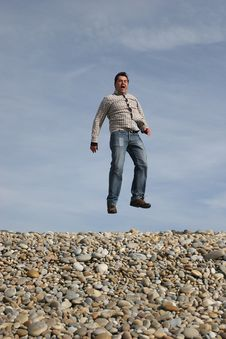 Free Young Casual Man Jumping Stock Photos - 4471733