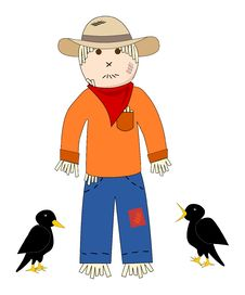 Scarecrow And Crows Royalty Free Stock Image