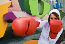 Free Punching Woman Stock Images - 4472954