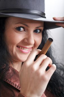 Free Girl With Cigar Royalty Free Stock Photography - 4473847