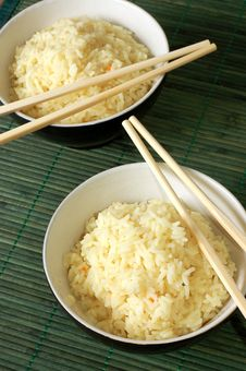 Free Two Bowls Of Healthy Organic Rice Stock Photography - 4475212