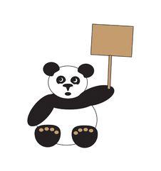 Free Panda With Placard Stock Photo - 4475430