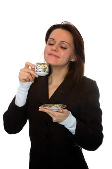 Free The Girl Drinks Tea Royalty Free Stock Image - 4475576