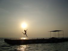 Free Thai Sunset Jump Stock Image - 4475871