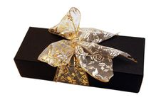 Free Black Gift Box With Gold Ribbon Royalty Free Stock Photo - 4477295