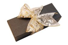 Free Black Gift Box With Gold Ribbon Stock Images - 4477384