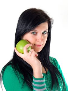 Free A Girl With Apple Royalty Free Stock Image - 4477816