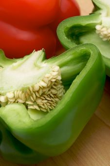 Macro Shot Of Cut Bell Pepper Royalty Free Stock Image