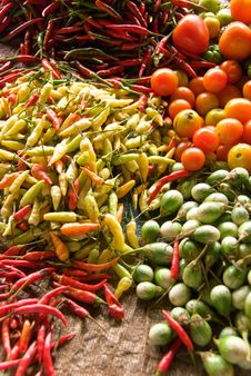 Vegetables And Spices At Market Stock Photos