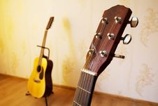 Free Head Of Acoustic Six-string Guitar Stock Photos - 44791793