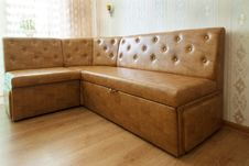 Brown Leather Sofa In A Room Stock Image