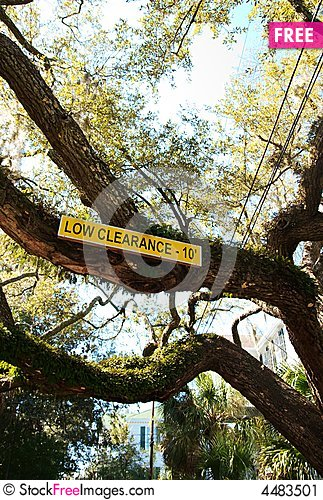Free Low Clearance Sign Stock Image - 4483501