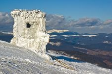 Snow Shelter At The Top Of The Mount On Winter Res Royalty Free Stock Image