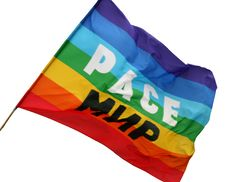 Multi-coloured Flag With An Inscription The Peace Stock Image