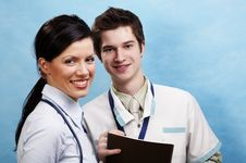Free Doctor With Beautiful Assistant Stock Photo - 4482690