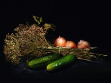 Cucumbers, Onions And Dill Stock Photos
