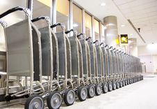 Free Row Of Luggage Carts Stock Photography - 4484142