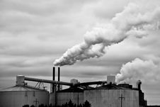 Black And White Industrial Factory And Smoke Royalty Free Stock Photos