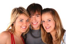 Free Three Teengers Friends On White Stock Photos - 4484453