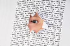 Free Eye Looks Into The Hole In The Sheet Royalty Free Stock Image - 4484636
