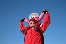 Free Father With Child On Shoulders In Winter 2 Stock Images - 4485384