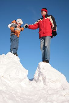 Free Father With Child Stand On Snow Hill Royalty Free Stock Photography - 4485477