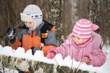 Free Boy And Girl Paly In Forest In Winter Stock Image - 4486121