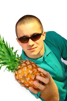 Free Boy With Pineapple Stock Photography - 4487842