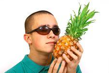 Free Boy With Pineapple Stock Photos - 4488073