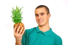 Free Boy With Pineapple Royalty Free Stock Photos - 4488178
