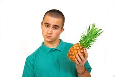 Free Boy With Pineapple Royalty Free Stock Photos - 4488248