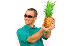 Free Boy With Pineapple Royalty Free Stock Image - 4488326