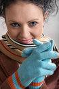 Free Nice Girl In Blue Gloves Royalty Free Stock Photo - 4492675