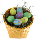 Free Easter Eggs In Yellow Basket Royalty Free Stock Photos - 4493878