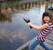 Free Little Girl Fishing Fun Royalty Free Stock Photos - 4492208