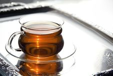 Free Transparent Cup Of Tea On The Salver Stock Photo - 4492340