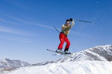 Free Snow Skier Jumping Over Blue Sky Royalty Free Stock Photography - 4492617