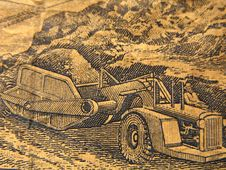 A Tractor On Jamaican Money Stock Photo