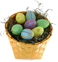 Easter Eggs In Yellow Basket Royalty Free Stock Photos