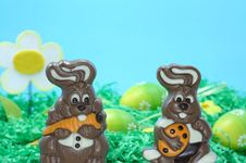 Free Two Chocolate Easter Bunnies Stock Images - 4493934