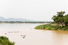 Mekong River Boatmen Royalty Free Stock Photos