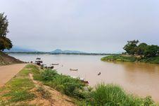Mekong River Boatmen Stock Photography