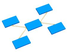 Free 3d Blue Boxes, Connected By A Gold Circuit Royalty Free Stock Photo - 4494785