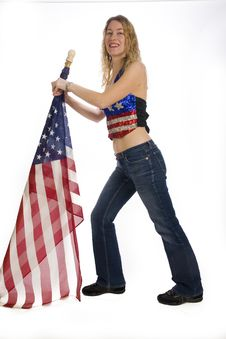 Free Girl With Flag Stock Image - 4494811
