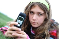 Free Young Girl And Cellphone Royalty Free Stock Photos - 4495908