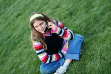 Free Young Girl And Cellphone Stock Image - 4495911