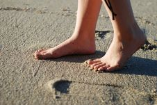 Foot On The Beach Royalty Free Stock Image