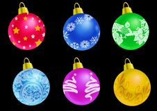 Set Of Christmas Balls - Black Background Stock Photo